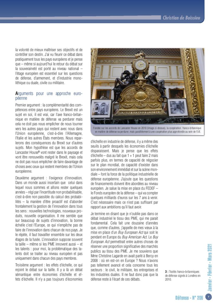 """Les propos de Christian de Boissieu, président du Conseil scientifique de la Chaire, lors de la conférence """"Quelle politique industrielle européenne de défense ?"""" ont été repris dans le dernier numéro de la revue Défense de l'Union IHEDN."""