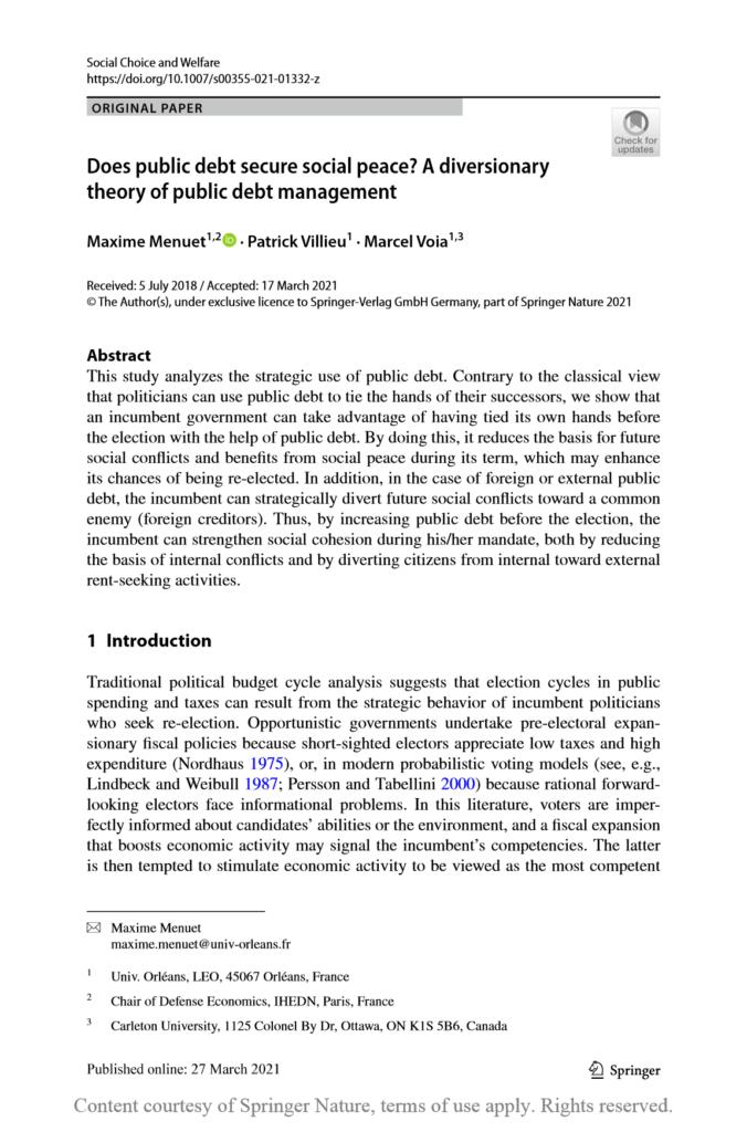 Maxime Menuet, chercheur associé à la Chaire Économie de Défense - IHEDN, publie un article sur la dette publique et les conflits sociaux dans la revue Social Choice and Welfare.