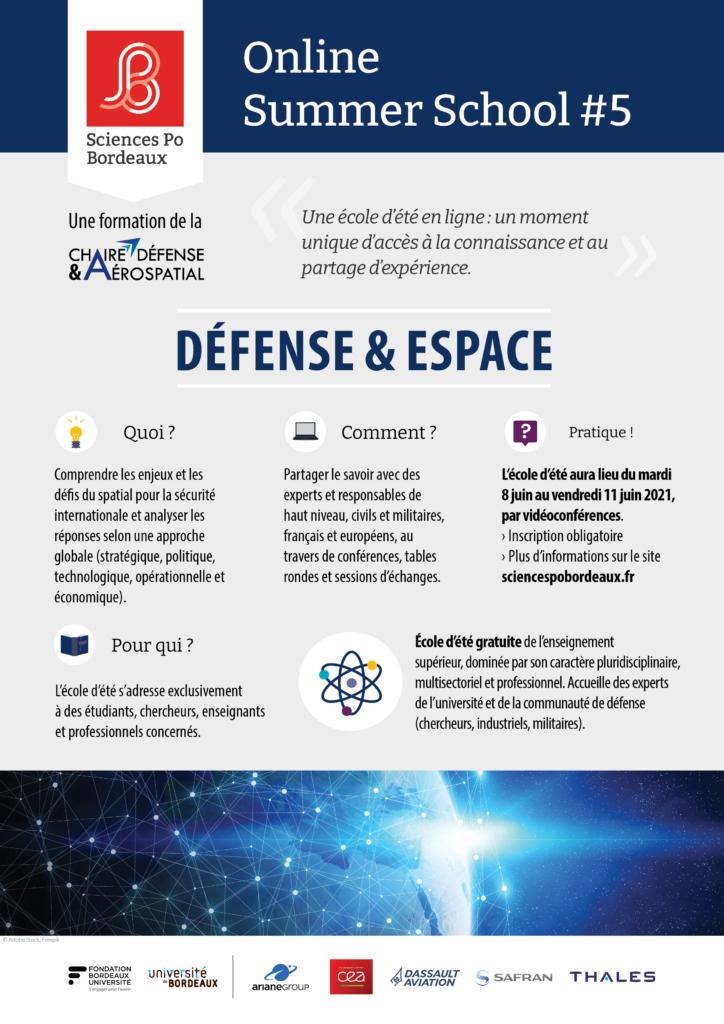 Organisée en ligne par la Chaire Défense & Aérospatial, l'école d'été Défense & Espace a invité Jean Belin, titulaire de la Chaire,  jeudi 10 juin afin de discuter de l'économie spatiale et de défense.